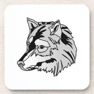Cabeza del lobo posavasos de bebida