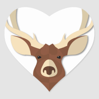 Cabeza del macho de los ciervos del dibujo animado pegatina en forma de corazón