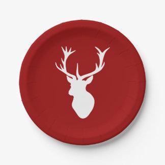 Cabeza del macho de los ciervos del navidad rojo y plato de papel de 7 pulgadas