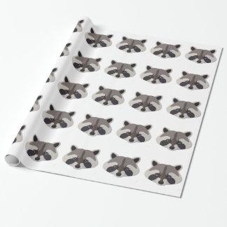 Cabeza del mapache del dibujo animado papel de regalo