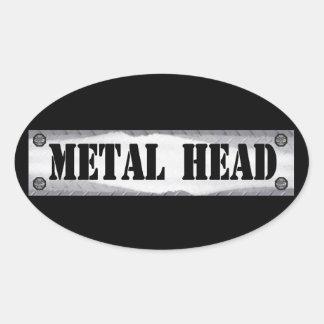 Cabeza del metal pegatina ovalada