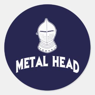 Cabeza del metal pegatina redonda