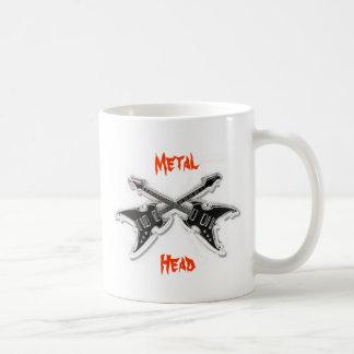 Cabeza del metal (taza de café) taza básica blanca