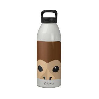 Cabeza del mono del dibujo animado botellas de beber