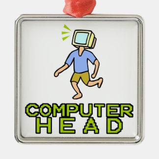 cabeza del ordenador adorno cuadrado plateado