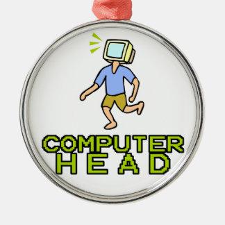 cabeza del ordenador adorno redondo plateado