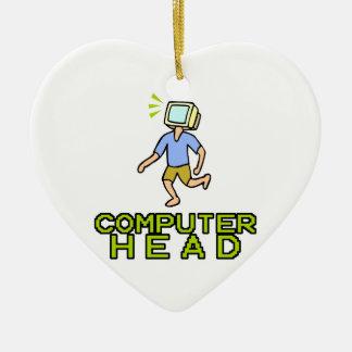 cabeza del ordenador adorno de cerámica en forma de corazón