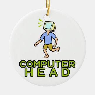 cabeza del ordenador adorno redondo de cerámica