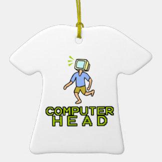 cabeza del ordenador adorno de cerámica en forma de camiseta