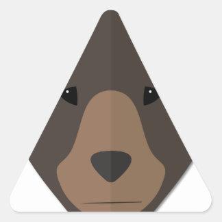Cabeza del oso del dibujo animado pegatina triangular
