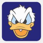 Cabeza del pato Donald Calcomanías Cuadradas Personalizadas