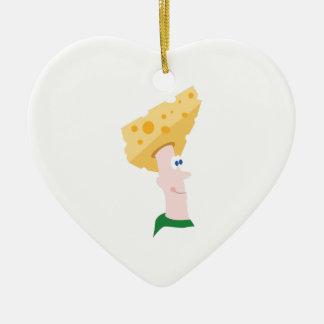 Cabeza del queso adorno navideño de cerámica en forma de corazón