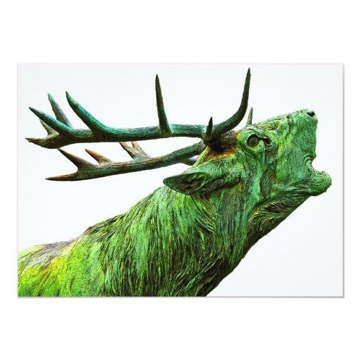"""Cabeza del reno del macho - verde invitación 5"""" x 7"""""""