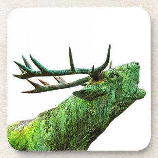 Cabeza del reno del macho - verde posavasos de bebidas