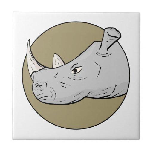 Cabeza del rinoceronte azulejo cuadrado pequeño