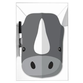 Cabeza del rinoceronte del dibujo animado tablero blanco