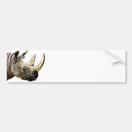 Cabeza del rinoceronte, fondo blanco pegatina de parachoque