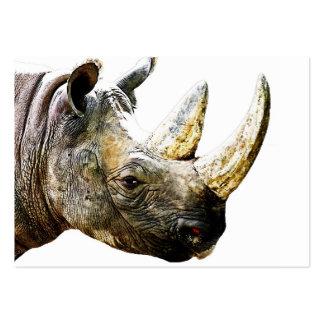 Cabeza del rinoceronte, fondo blanco tarjetas de visita grandes
