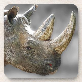 Cabeza del rinoceronte, poster gris del fondo posavasos