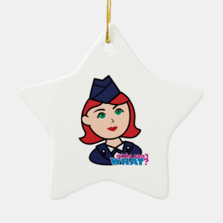 Cabeza del rojo de la fuerza aérea adorno navideño de cerámica en forma de estrella