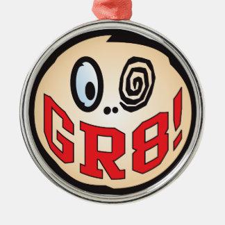 Cabeza del texto GR8 Adorno Redondo Plateado