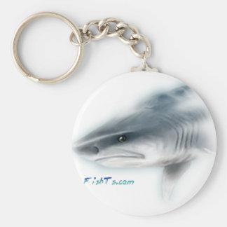 Cabeza del tiburón de tigre llavero redondo tipo pin