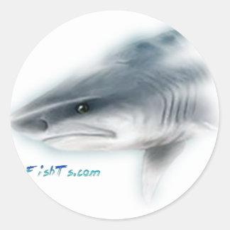 Cabeza del tiburón de tigre pegatina redonda