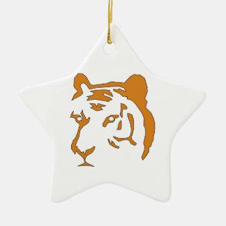 Cabeza del tigre adorno navideño de cerámica en forma de estrella