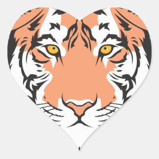 cabeza del tigre de Bengala Calcomanías Corazones