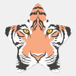 cabeza del tigre de Bengala Colcomanias Forma De Estrellaes Personalizadas