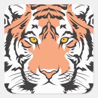 cabeza del tigre de Bengala Pegatina Cuadrada