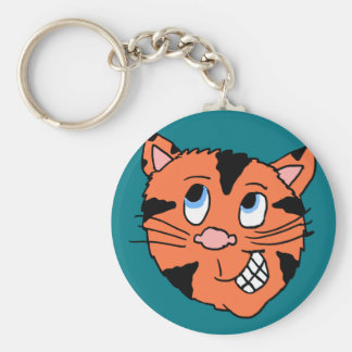 Cabeza del tigre del dibujo animado llavero redondo tipo pin
