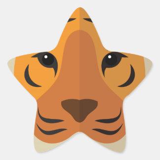 Cabeza del tigre del dibujo animado colcomanias forma de estrella