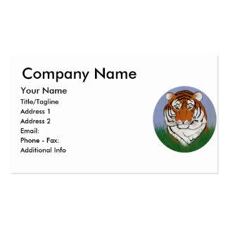 Cabeza del tigre en hierba tarjetas de visita