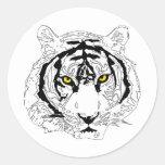 Cabeza del tigre etiquetas redondas