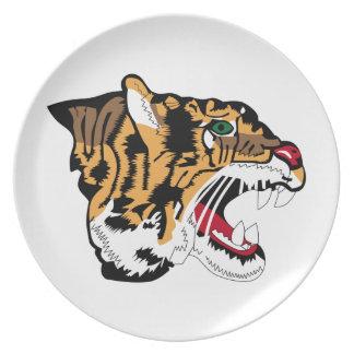 Cabeza del tigre - holandés - remiendos plato para fiesta