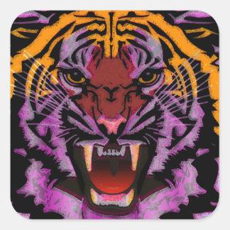 Cabeza del tigre, ilustraciones del tigre, gato pegatina cuadrada