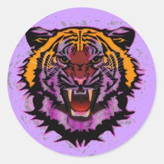 Cabeza del tigre, ilustraciones del tigre, gato pegatina redonda
