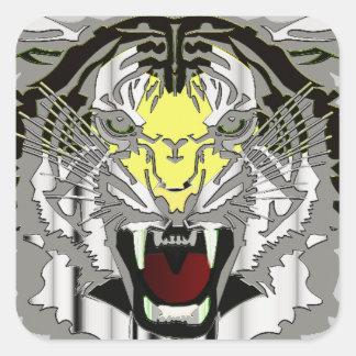 Cabeza del tigre, ilustraciones metálicas del pegatina cuadrada