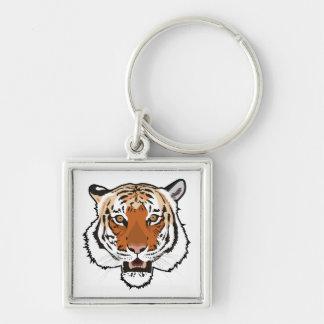 Cabeza del tigre llavero cuadrado plateado