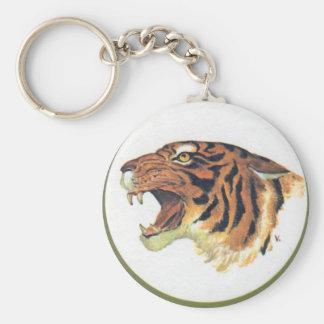 Cabeza del tigre llavero redondo tipo pin