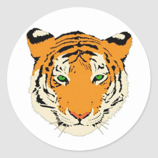 Cabeza del tigre etiqueta redonda