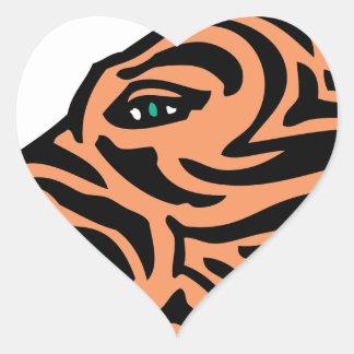 cabeza del tigre calcomanías corazones