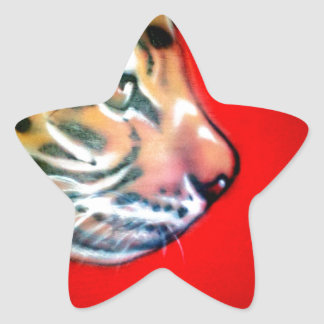 Cabeza del tigre calcomanía cuadrada personalizada