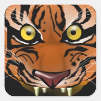 Cabeza del tigre pegatina cuadrada