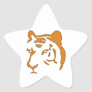 Cabeza del tigre pegatina en forma de estrella