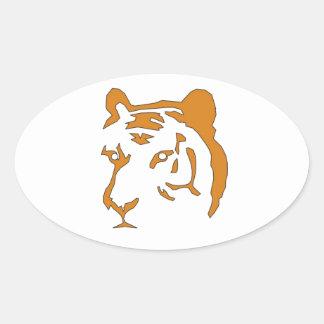 Cabeza del tigre pegatina ovalada