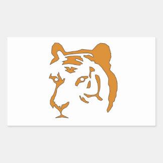 Cabeza del tigre pegatina rectangular