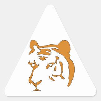Cabeza del tigre pegatina triangular