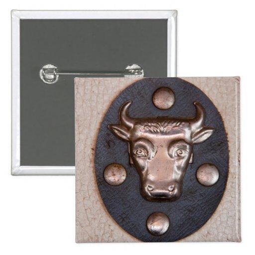 Cabeza del toro del metal del vintage pin